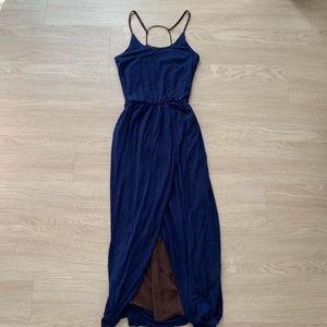 Anthropologie Navy Blue Halter Tulip Maxi Dress